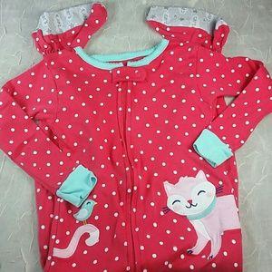 pajamas pj's footie 1 piece kitten kitty red pink